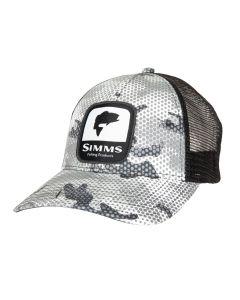 Simms Bass Patch Trucker Cap - Hex Flo Camo Steel