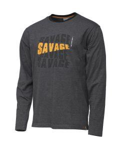 Savage Gear Simply Savage Logo Lang Ærmet - Melange Grå T-Shirt