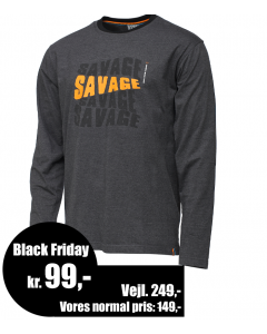 Savage Gear Simply Savage Logo Lang Ærmet - Melange Grå T-Shirt